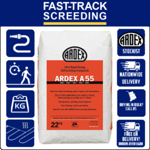 Ardex A55 Rapid Hardening and Drying Smoothing and Levelling Compound, 22kg